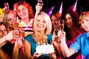 Group of young people celebrating birthday